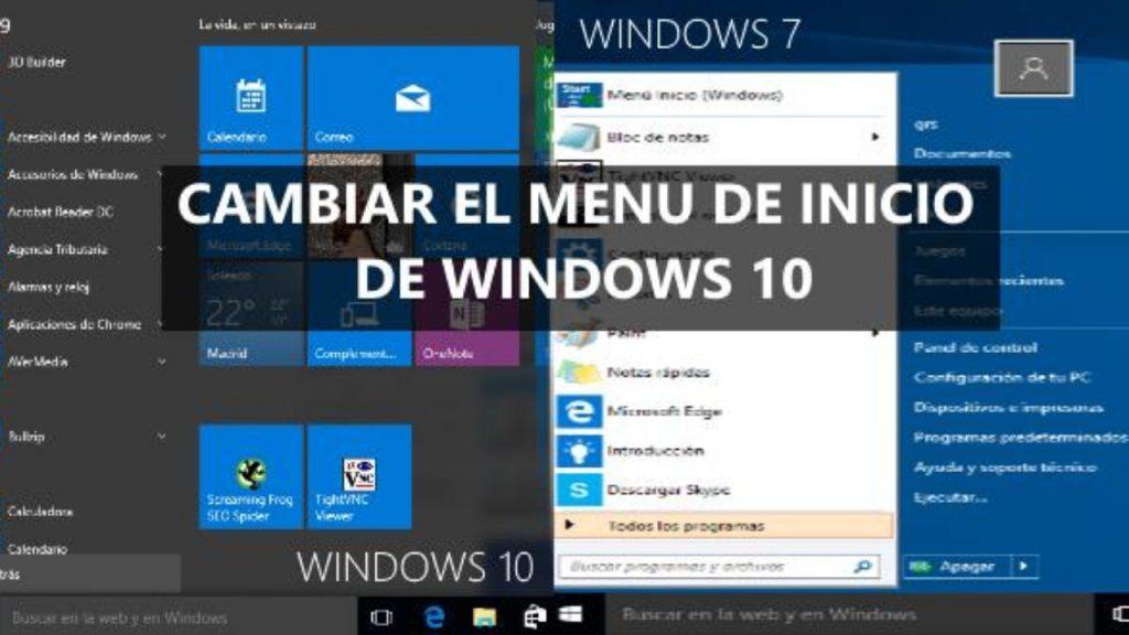 Cambiar el menú de inicio de Windows 10 a Win 7