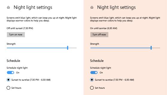 Cómo configurar la luz nocturna en Windows 10