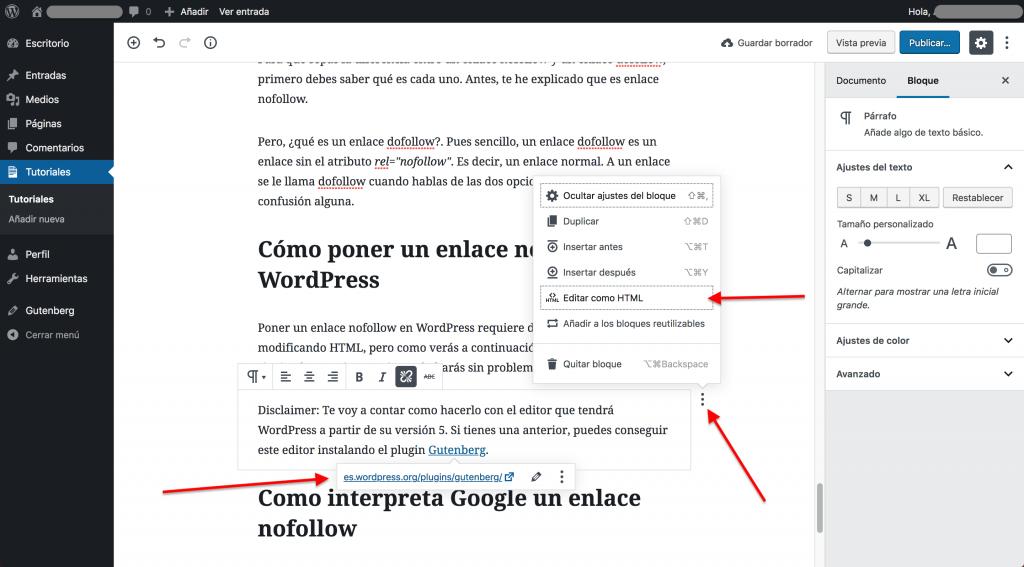 Cómo crear enlaces nofollow en WordPress