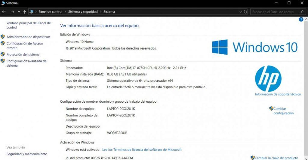 Cómo ver las especificaciones de el ordenador con Windows 10