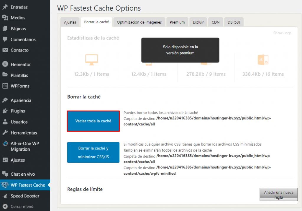 Complemento de caché de Worpdress – WP Fastest Cache